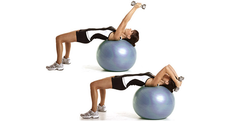 Triceps extension using stability ball