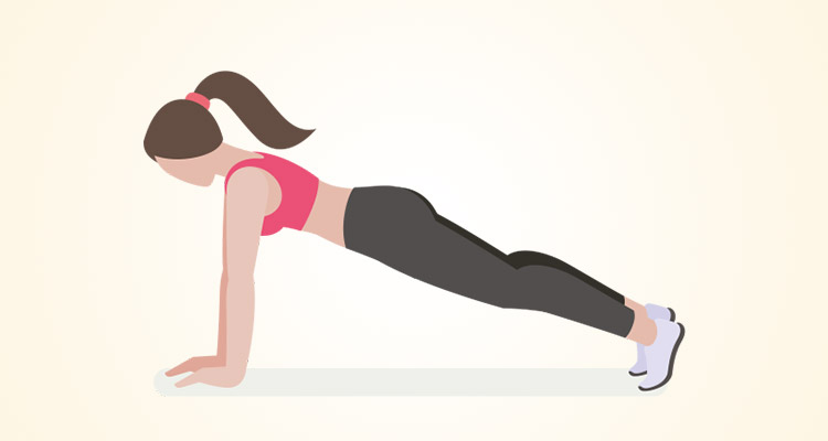 A woman practicing plank